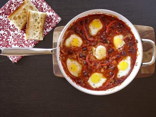 Chipotle Eggs ranchero with beans