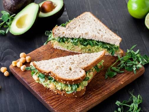 Smashed chick pea & avocado sandwich